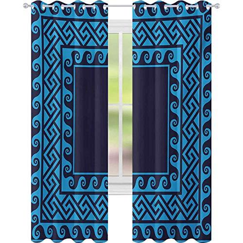 Cortinas para dormitorio, diseño de ondas con laberinto antiguo cuadrado con motivos helénicos, diseño inspirado en el mar, 52 x 84 de ancho para habitación de bebés, azul oscuro