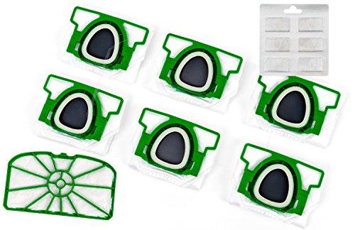 Hepa Lot de 6 sacs d'aspirateur Premium + filtre de protection moteur + puces parfumées pour Vorwerk Kobold VK 200
