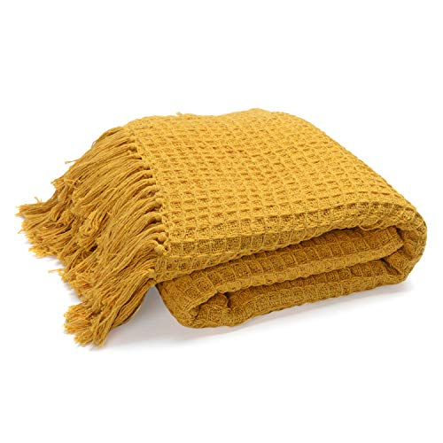 Shop LC Delivering Joy Mustard Honeycomb Pattern Throw with Tassels Cotton Throw Blanket Super Soft Luxury for Couch Bedroom