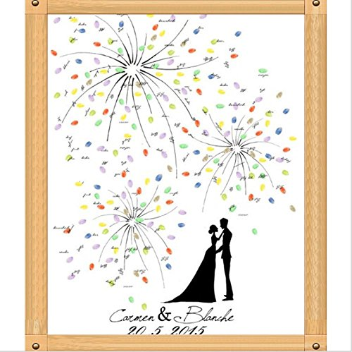 GxNI Huellas dactilares boda personalizada Pintura pintada por un aniversario de boda de huellas dactilares-Guest Firma libro de huella digital - novios , 60x75cm (oil painting)