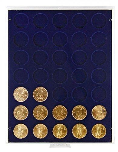 Bandeja de monedas 35 compartimentos, cada uno de 32,5 mm Ø [Lindner 2111M], por ejemplo para 10 DM, 10 Euro, 1 onza Krügerrand (oro) - Versión: Marine (Gris / Pantalla azul)