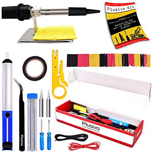 Soldering Iron Kit Electronics, Soldering Iron 60W Adjustable Temperature, Solder Wire, Wire Stripper, Desoldering Pump, Tweezers, Solder Tips, Mini Stand, Screwdrivers, Heatshrink Tubes from Plusivo