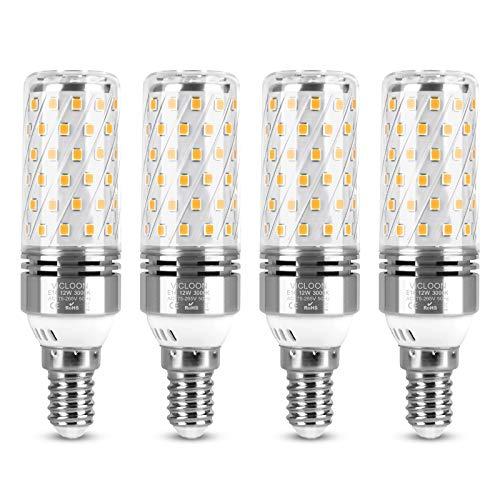 Vicloon LED E14 Mais Bulbi, 4Pcs Lampadina LED E14 12W Equivalente a 100W Alogena Bulbi, Luce Lampadine Risparmio Energetico, Bianco Caldo 3000K, 1400LM, Senza Sfarfallio, Non Dimmerabile, CA 175-265V