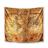DekoArte TP09 - Tapiz Moderno De Pared Impresión Artística Digitalizada   Tela poliéster 100% decoración para Tu Salón o Dormitorio   Estilo Mapamundi o Mapa del Mundo Antiguo   150 x 130 cm