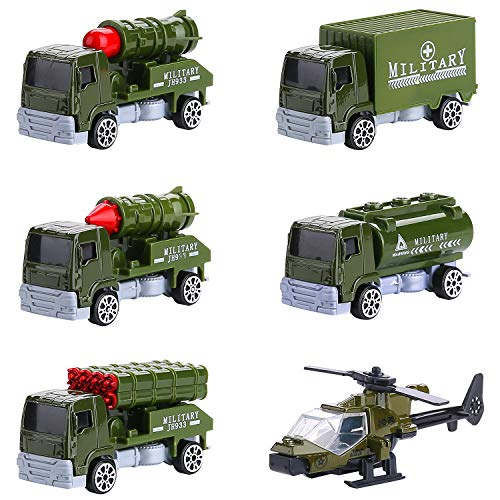 Hautton 6 uds Conjunto de Vehículos Militares Juguetes Surtidos del Coche del Modelo del Ejército del Metal de la Aleación Helicóptero Camión de Transporte, Vehículo Cisterna de Aceite para Niños