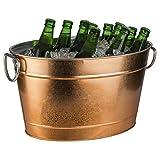 Buddy´s Bar - Getränkewanne, 11 Liter, Zinkwanne, Getränkekühler, mit Kunststoffeinsatz, hochwertiger Flaschenkühler aus Edelstahl, 40 x 28 cm, Höhe 22 cm, Kupfer