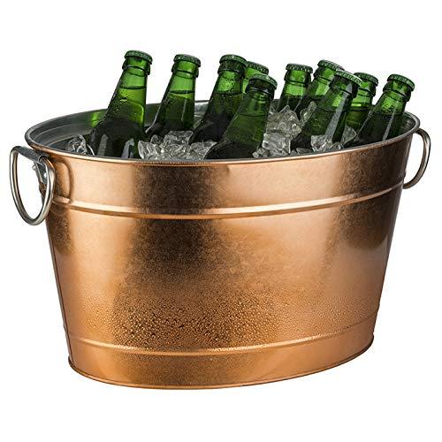 Buddy's Bar - Secchiello Ovale per Bevande, 11 Litri, Vasca di Zinco con Inserto in plastica, glacette, raffreddatore per Bottiglie in Acciaio Inossidabile zincato, 40 x 28 cm, Altezza 22 cm, Rame