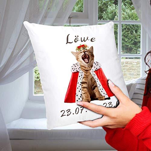 Geschenk Kissen Katze mit Sternzeichen Löwe, lustiges Geschenk für Freundin Freund, Dekokissen Zierkissen inkl. Füllung 40x40 cm Weiß Bunt