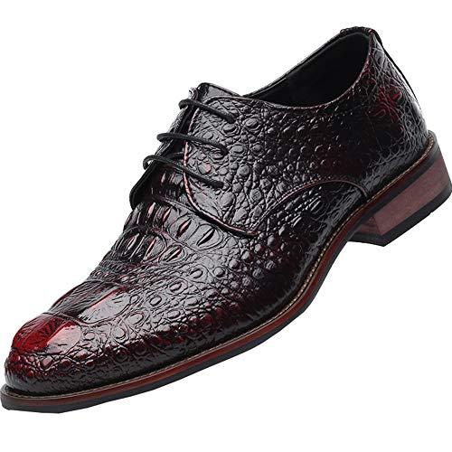 Mode Krokodilleder Schuhe,Klassische Schnürschuhe,Herren Leder Hochzeitsbankett Schuhe für Arbeitsurlaub Urlaub