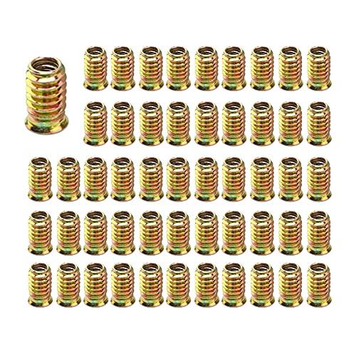 Hazrcvr Tuerca Roscada m6 100 Piezas Remaches Roscados Tornillos m6 Tornillos con Tuerca m6 15mm Tuerca de Inserción Tuerca de Aleación Hexagonal para Los Muebles De Madera