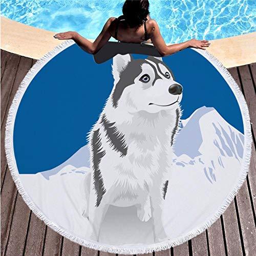 Relovsk Wandtapijten voor hond bedrukking zachte handdoek strandlaken volwassenen yogamat dier grote ronde handdoek katoen wandtapijt decoratie 150 cm x 150 cm.