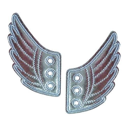 P Prettyia Schuhflügel Mode Punk, Engelsflügel Flügel für Schuhe Kinderschuhe Sneakers Schuhzubehör - Silber