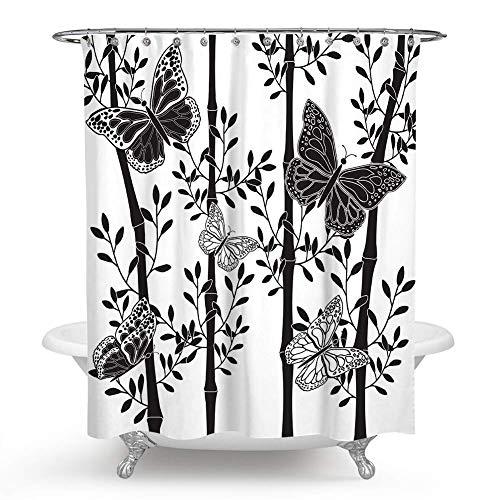 JOOCAR Design Duschvorhang, Schmetterlinge auf dem Ast von Bambus, exotische Natur, schwarz weiß, wasserdichter Stoff, Badezimmer-Dekor-Set mit Haken