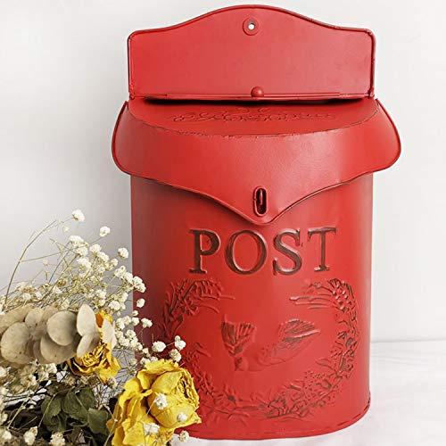 XCXDX Schmiedeeisen Briefkasten, Vintage Shabby Style Briefkasten Mit Exquisiten Relief Red