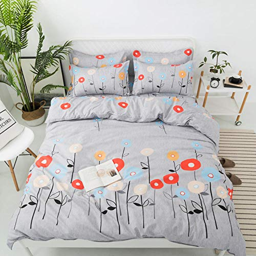 DTBDWOSY 3D Printed Duvet Cover King 220X230 Cm Grey Red Flower Bedding With 2 Pillowcase Soft Brushed Microfiber Bedding Set With Zipper Closure Bedroom Decor Quilt Covers