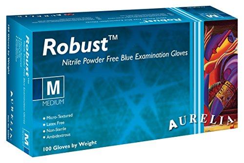 SUPERMAX 93890Aurelia Robust Einweghandschuhe Nitril Handschuhe, puderfrei, XXL, blau (100Stück)