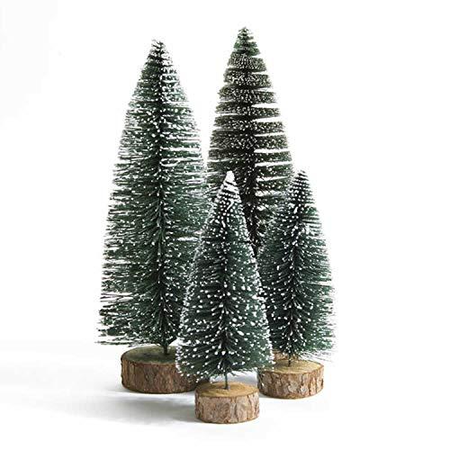 QUNPON Mini künstliche Weihnachtsbäume, 4pcs Xmas Sisal Snow Frost Tischbäume, Grüne Flaschenbürstenbäume mit Holzbasis, für Weihnachtsdekorationen DIY Raumdekoration (Grün)