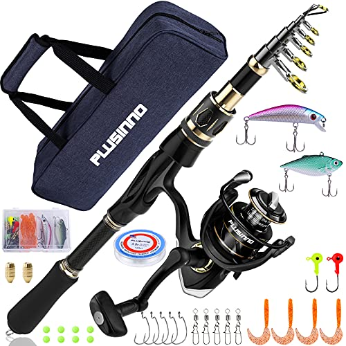 PLUSINNO Fishing Rod and Reel Combos Set,Telescopic Fishing Pole with Spinning Reels, Carbon Fiber Fishing Rod for Travel Saltwater Freshwater Fishing