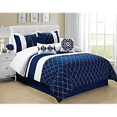 7 Piece MALIBU wave embroidery Comforter Set- Queen King Cal.King Size (Queen)