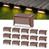 16 Pack Solar Deck Lights Led Solar Step Lights Outdoor Warning Warm Light for Steps Decks Pathway Yard Stairs Fences Tent Camping (Brown)