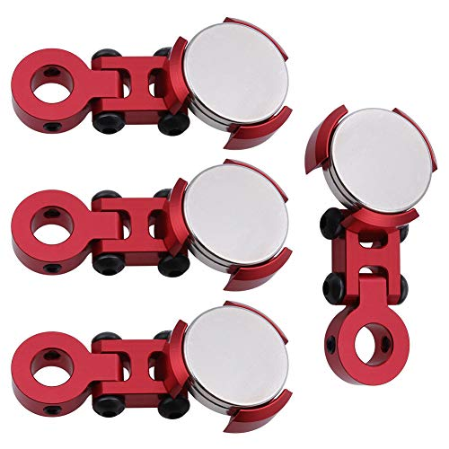 4PCS HobbyPark Aluminum Magnetic Stealth Invisible Body Post Mounts for 1/10 RC Car (Red)