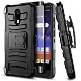 E-Began Case for Nokia 3.1A (AT&T), Nokia 3.1C (Cricket Wireless) with Tempered Glass Screen Protector (Full Coverage), Belt Clip Holster Kickstand Shockproof Protective Heavy Duty Case (Black)