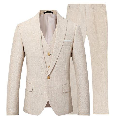 Trajes Hombre Vestir Traje de Lino de 3 Piezas para Hombre