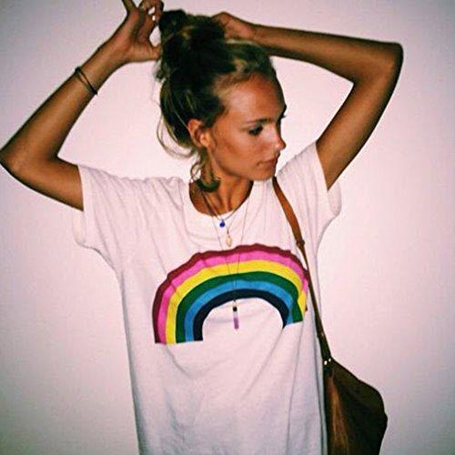 Elistelle Shirt Damen Oberteil Loose Kurzarm Blusen Top Regenbogen Muster T-Shirts