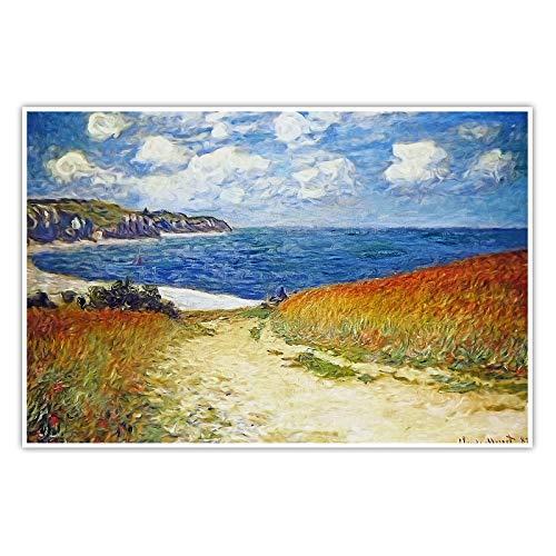 CanvasArts Strandweg zwischen Weizenfeldern bei Pourville - Claude Monet - Poster (80 x 60 cm, Poster)