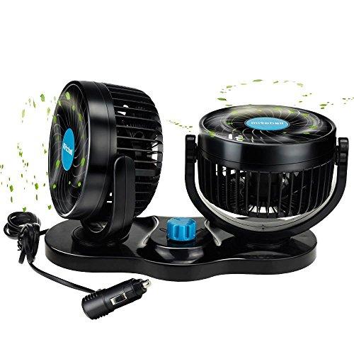 BestFire Ventilador de Refrigeración para Coche 12V Velocidad Ajustable 360 Grado Giratorio Silencioso Ventilación Fan para Coche SUV