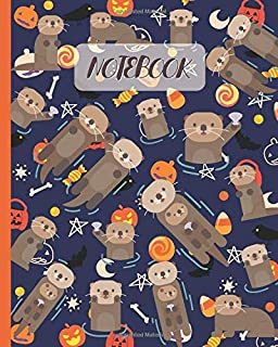 Notebook: Cute Otter with Halloween Theme - Lined Notebook, Diary, Track, Log & Journal - Gift Idea for Boys Girls Teens Men Women (8