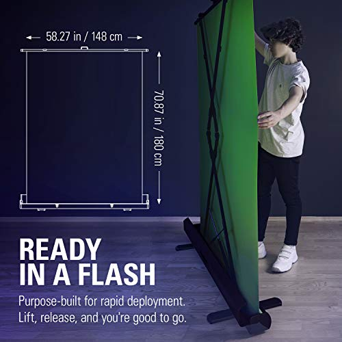 Elgato Green Screen - Collapsible chroma key panel for background removal with auto-locking frame, wrinkle-resistant chroma-green fabric, aluminum hard case, ultra-quick setup and breakdown