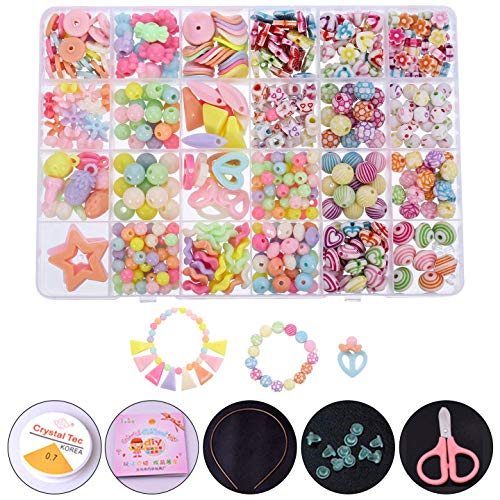 Firtink 24 Farben Perlen zum auffädeln Kinder Schmuck Schnurset, DIY Freundschaftsarmbänder Halsketten Kunsthandwerks-Set für Mädchen Kinder
