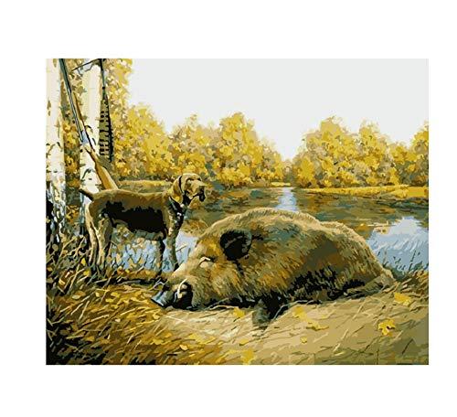 Pintura Por Números Perro De Caza Y Jabalí Lienzo Animal Decoración De La Boda Imagen Artística Regalo