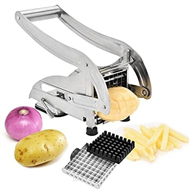 French Fry Cutter , Zoel Fry Maker With 2 Stainless Steel Blades for Potato Onion and other Veg into Finger Sticks
