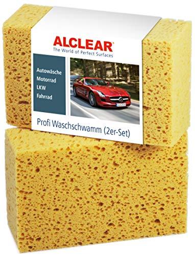 ALCLEAR 6080WS 2er Set Auto Waschschwamm, Jumbo Autoschwamm für Autopflege, Lack, Felgen, Reinigung außen und innen, 18x12x6 cm