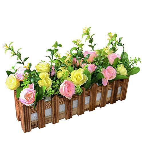 Flikool Roses Künstliche Pflanzen mit Dunkel Zaun Gefälschte Künstliche Blumen mit Topf Simulation Topfpflanzen Bonsai Kunstblumen Kunstpflanzen Ornaments Dekorationen - Gelb Pink
