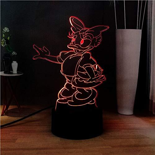 shiyueNB Nouveau 3D Acrylic Illusion Lampe Mignon Canard Daisy USB Commutateur RGB 7 Couleur LED pour Cadeaux pour Enfants à côté de Night Lights Visage de Der Fuehrer