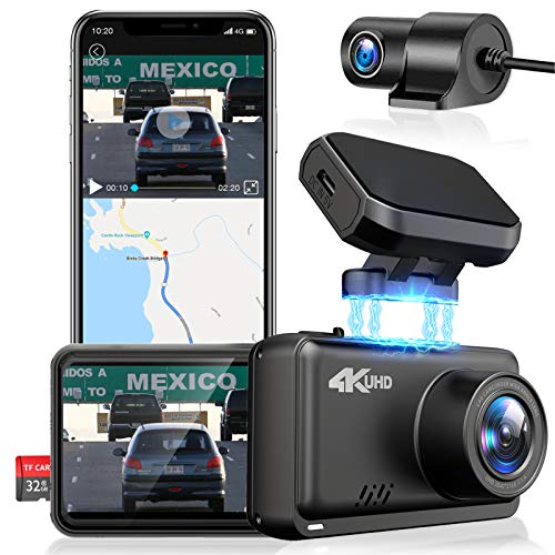 JOMISE Dual Lens Dash Cam Front and Rear 4K & 1080P UHD Car Dashboard Camera Recorder with GPS WIFI and...