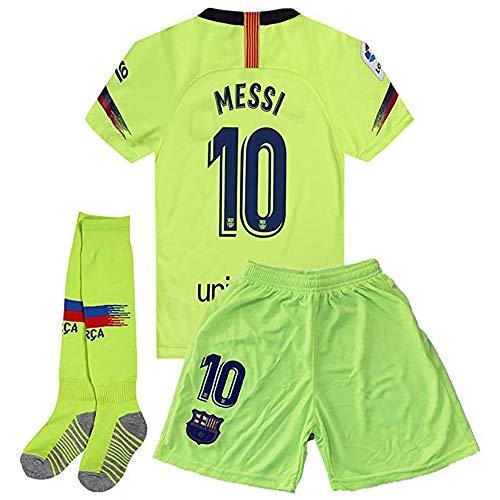 BLAIEIEI Messi Barcelona Away 2018-2019 - Playera de fútbol para niños o jóvenes, Color Verde