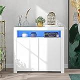 adawd Aparador blanco para salón, aparador de almacenamiento blanco brillante con luz LED, moderno mueble de cocina de...