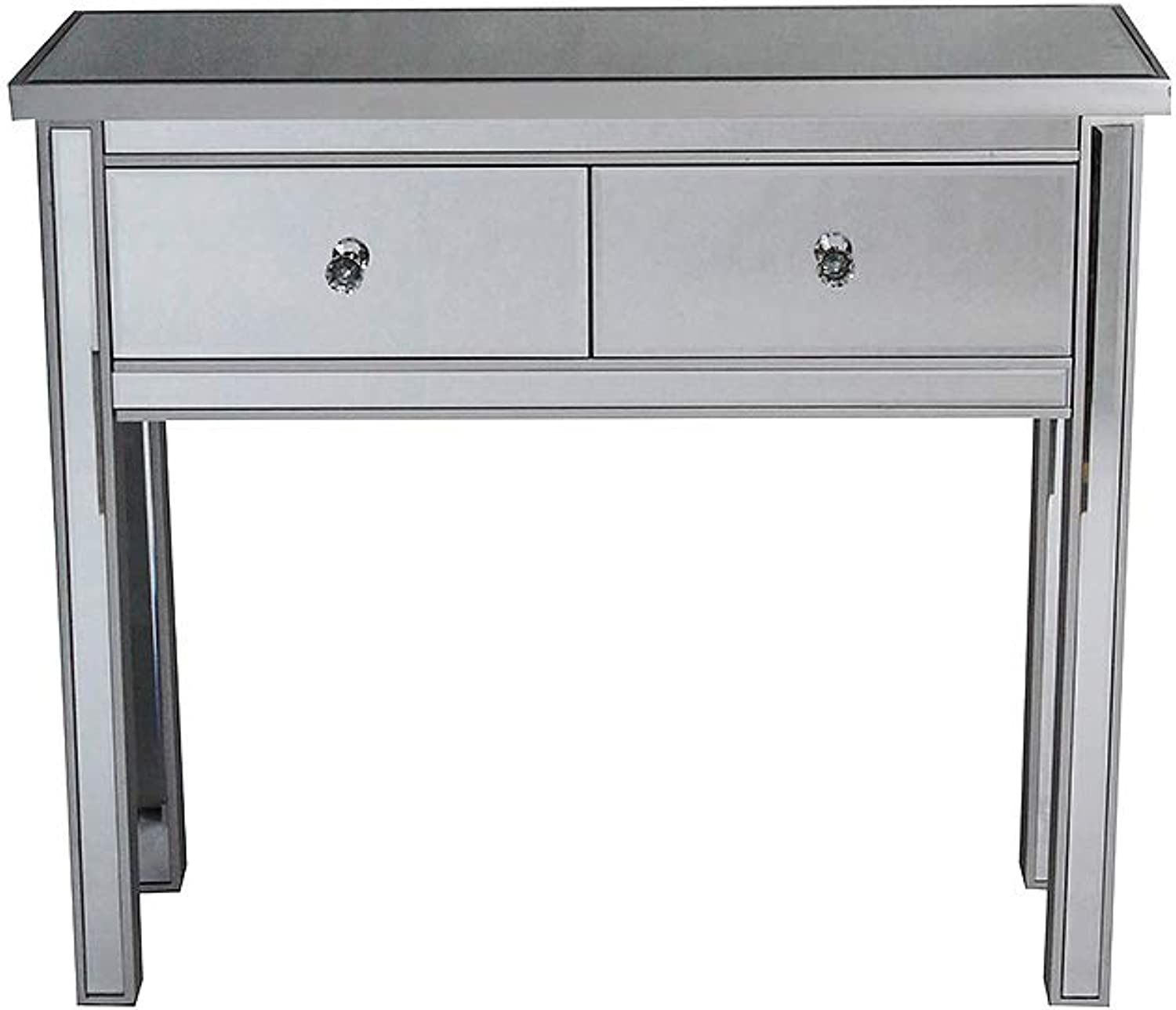 HomeRoots 2-Drawer Mirrored Console Table - Silver