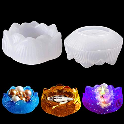 Molde de resina de loto Moldes de silicona epoxi de fundición de cristal Cenicero Caja de almacenamiento de cuentas de joyería para hacer velas Moldes de jabón para decoración de regalos artesanales