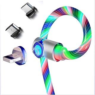 AJO Cable de Carga USB Micro Absorción magnética Iluminación Cargador Cable/Cable 3 en 1 Interfaz giratoria de 360 Grados ...