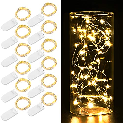 AMIR Upgraded Fairy String Lights, 12 Pack Starry Lights Battery Operated, 3.3ft 20 LED Indoor Outdoor Halloween String Lights, Copper Wire Lights for Party, Wedding, Christmas Decoration (Warm White)