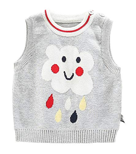 EOZY Baby Weste Jungen Mädchen Regen Strickweste Ärmelloser Pullover Grau Größe 90
