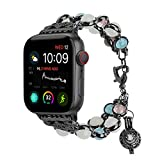 TILON For Apple Watch Band 42mm 44mm Series 4/3/2/1, Adjustable Wristband Handmade Night Luminous Pearl iWatch Bracelet with Essential Oil/Perfume Storage Pendant for Women/Girls(Black)