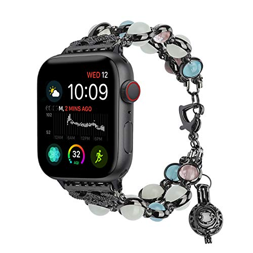 TILON For Apple Watch Band 38mm 40mm Series 4/3/2/1, Adjustable Wristband Handmade Night Luminous Pearl iWatch Bracelet with Essential Oil/Perfume Storage Pendant for Women/Girls(Black)