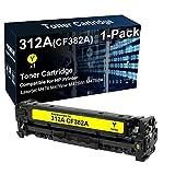 Cartucho de tóner compatible de alto rendimiento 312A CF382A (amarillo) utilizado para impresoras HP Color Laserjet Pro MFP M476nw M476dn M476dw (Texts-Clear)
