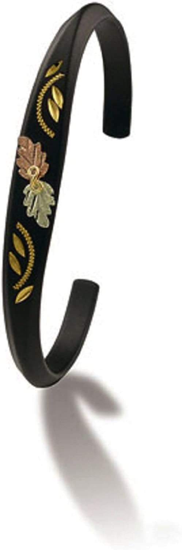 Landstroms Powder Coated Cuff Bracelet with 12k Black Hills Gold Leaves - G LBR506